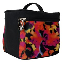 Red Floral Collage Print Design 2 Make Up Travel Bag (small)
