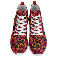Red Floral Collage Print Design 2 Men s Lightweight High Top Sneakers
