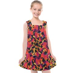 Red Floral Collage Print Design 2 Kids  Cross Back Dress