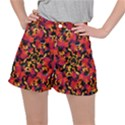 Red Floral Collage Print Design 2 Stretch Ripstop Shorts View1