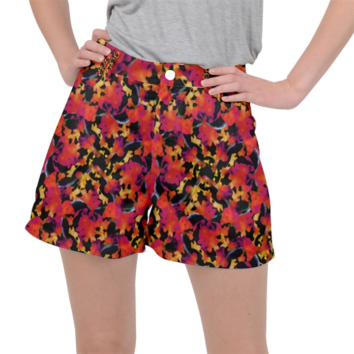 Red Floral Collage Print Design 2 Stretch Ripstop Shorts