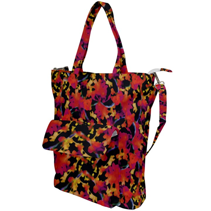 Red Floral Collage Print Design 2 Shoulder Tote Bag