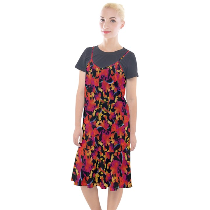 Red Floral Collage Print Design 2 Camis Fishtail Dress