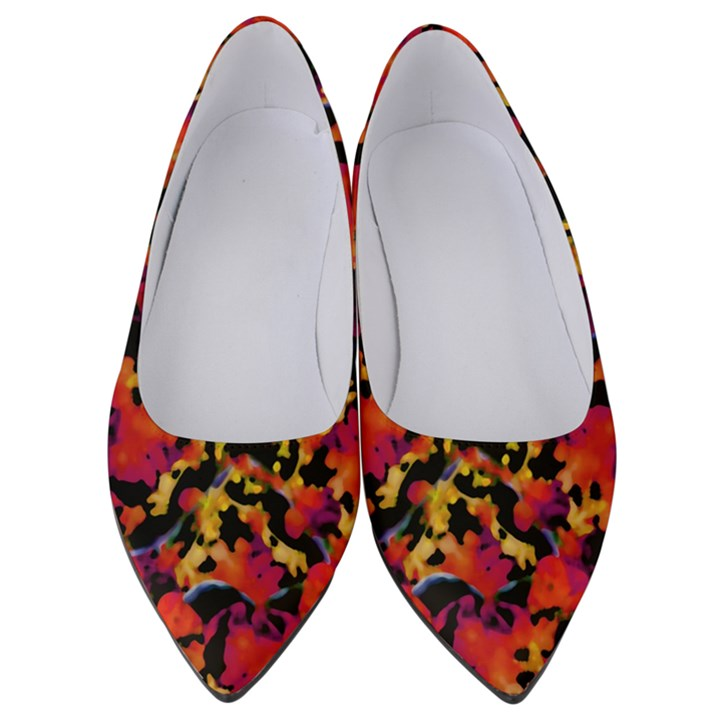 Red Floral Collage Print Design 2 Women s Low Heels
