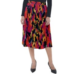 Red Floral Collage Print Design 2 Classic Velour Midi Skirt