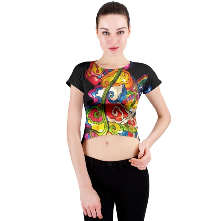 Dragon Lights Centerpiece Crew Neck Crop Top