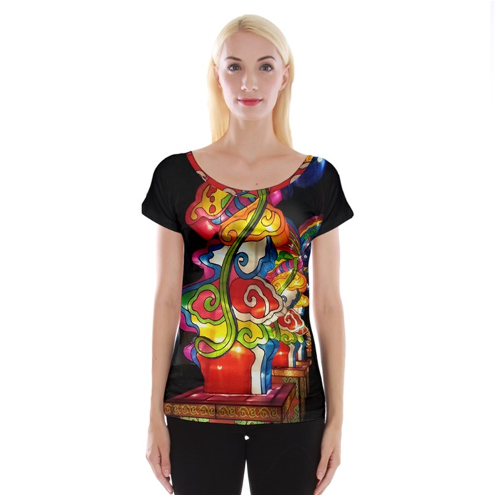 Dragon Lights Centerpiece Cap Sleeve Top