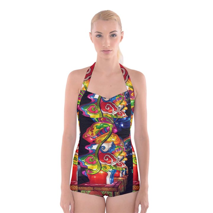 Dragon Lights Centerpiece Boyleg Halter Swimsuit