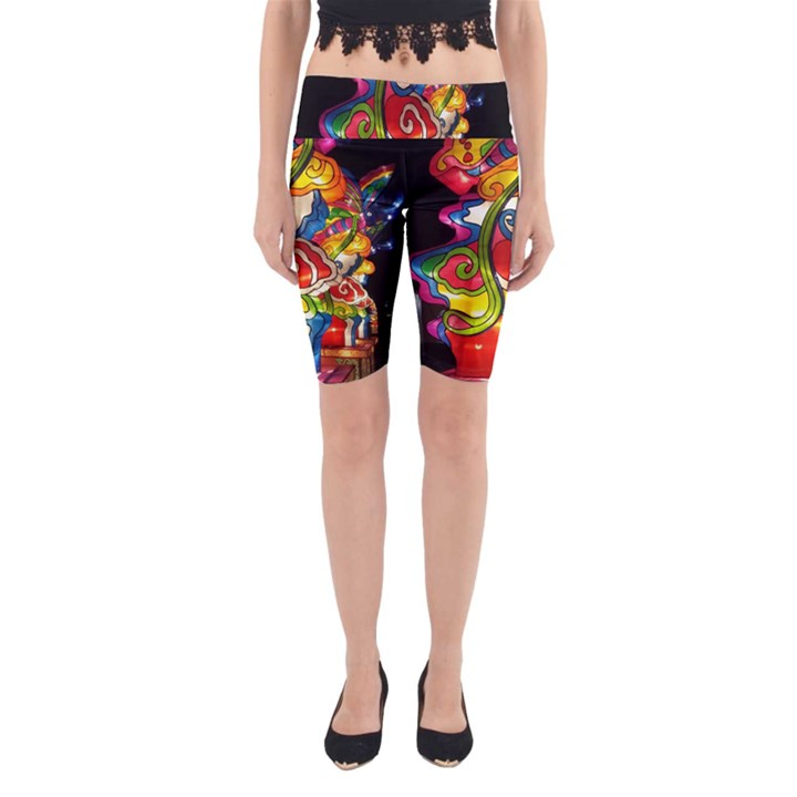 Dragon Lights Centerpiece Yoga Cropped Leggings