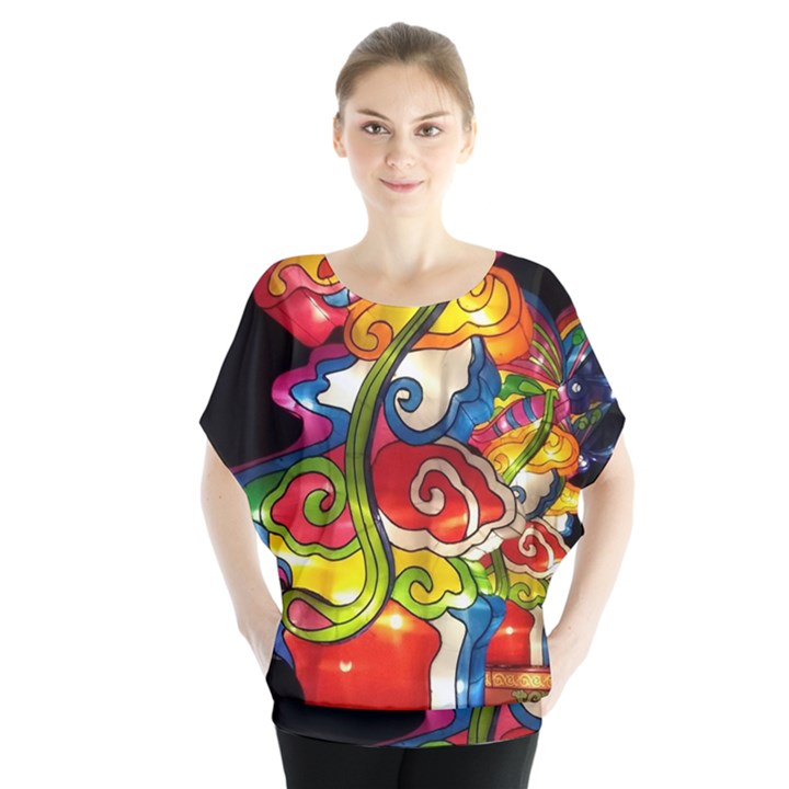 Dragon Lights Centerpiece Batwing Chiffon Blouse