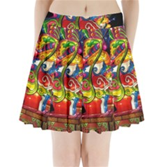 Dragon Lights Centerpiece Pleated Mini Skirt
