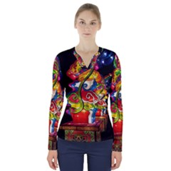 Dragon Lights Centerpiece V Neck Long Sleeve Top