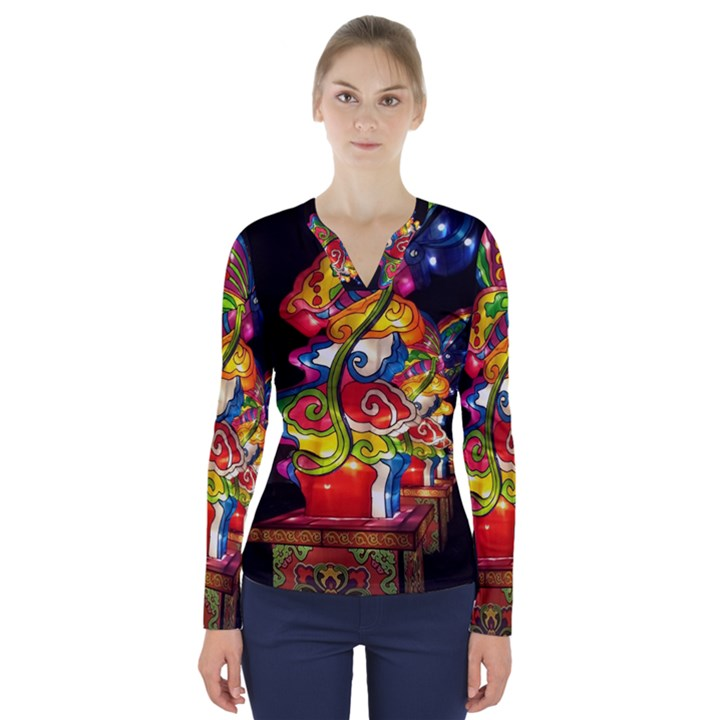 Dragon Lights Centerpiece V-Neck Long Sleeve Top