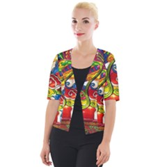 Dragon Lights Centerpiece Cropped Button Cardigan