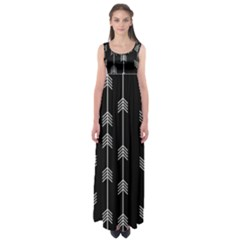 Black And White Abstract Pattern Empire Waist Maxi Dress
