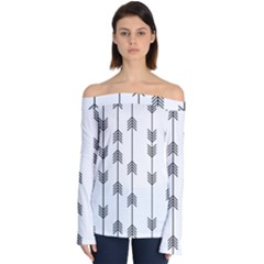 Black And White Abstract Pattern Off Shoulder Long Sleeve Top by Valentinaart