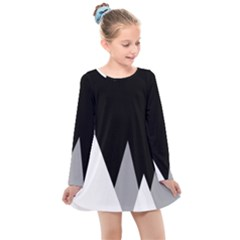 Geometric Landscape Kids  Long Sleeve Dress