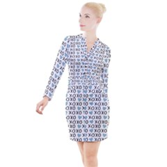 Xo Valentines Day Pattern Button Long Sleeve Dress