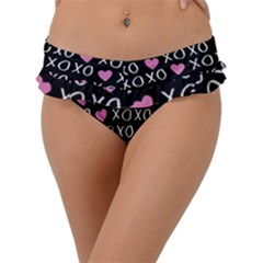 Xo Valentines Day Pattern Frill Bikini Bottom by Valentinaart