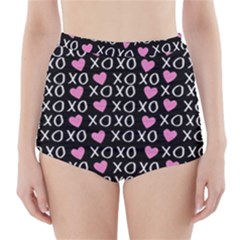 Xo Valentines Day Pattern High-waisted Bikini Bottoms by Valentinaart