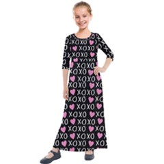 Xo Valentines Day Pattern Kids  Quarter Sleeve Maxi Dress by Valentinaart