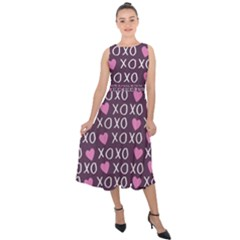 Xo Valentines Day Pattern Midi Tie Back Chiffon Dress by Valentinaart