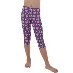 Xo Valentines Day Pattern Kids  Lightweight Velour Capri Leggings  by Valentinaart