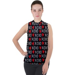 Xo Valentines Day Pattern Mock Neck Chiffon Sleeveless Top by Valentinaart