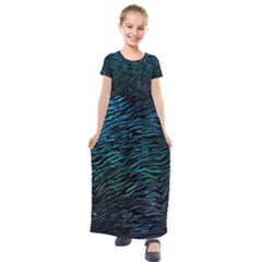 Funny Galaxy Tiger Pattern Kids  Short Sleeve Maxi Dress by tarastyle