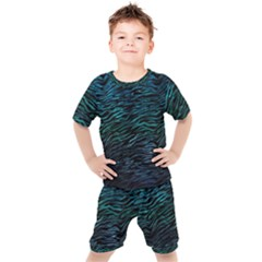 Funny Galaxy Tiger Pattern Kids  Tee And Shorts Set by tarastyle