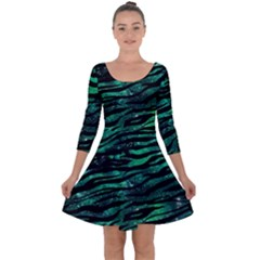 Funny Galaxy Tiger Pattern Quarter Sleeve Skater Dress by tarastyle