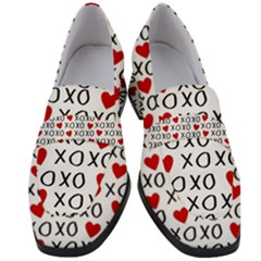 Xo Valentines Day Pattern Women s Chunky Heel Loafers