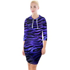 Funny Galaxy Tiger Pattern Quarter Sleeve Hood Bodycon Dress by tarastyle
