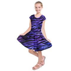 Funny Galaxy Tiger Pattern Kids  Short Sleeve Dress by tarastyle