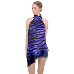 Funny Galaxy Tiger Pattern Halter Asymmetric Satin Top by tarastyle