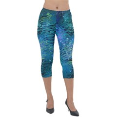 Funny Galaxy Tiger Pattern Lightweight Velour Capri Leggings  by tarastyle
