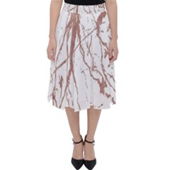 Rose Gold Marble Veins  Classic Midi Skirt by LoolyElzayat