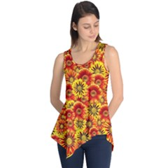 Brilliant Orange And Yellow Daisies Sleeveless Tunic