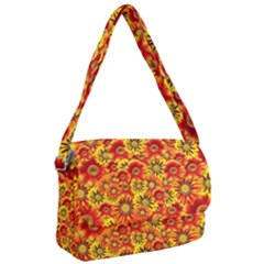 Brilliant Orange And Yellow Daisies Courier Bag by retrotoomoderndesigns