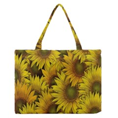 Surreal Sunflowers Zipper Medium Tote Bag by retrotoomoderndesigns