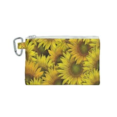 Surreal Sunflowers Canvas Cosmetic Bag (small) by retrotoomoderndesigns