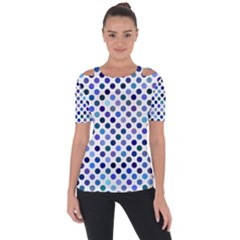 Shades Of Blue Polka Dots Shoulder Cut Out Short Sleeve Top