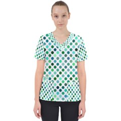 Shades Of Green Polka Dots Women s V Neck Scrub Top