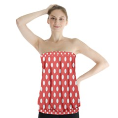 Red White Polka Dots Strapless Top