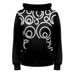 Abstract White On Black Circles Design Women s Pullover Hoodie by LoolyElzayat
