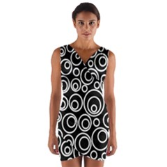 Abstract White On Black Circles Design Wrap Front Bodycon Dress by LoolyElzayat