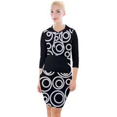 Abstract White On Black Circles Design Quarter Sleeve Hood Bodycon Dress by LoolyElzayat