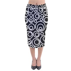 Abstract White On Black Circles Design Velvet Midi Pencil Skirt by LoolyElzayat