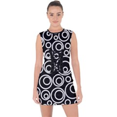 Abstract White On Black Circles Design Lace Up Front Bodycon Dress