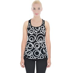 Abstract White On Black Circles Design Piece Up Tank Top by LoolyElzayat